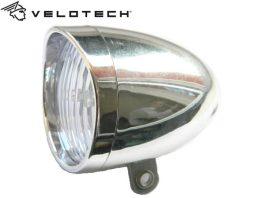 Velotech Első Lámpa elemes Retro 3 LED - ezüst