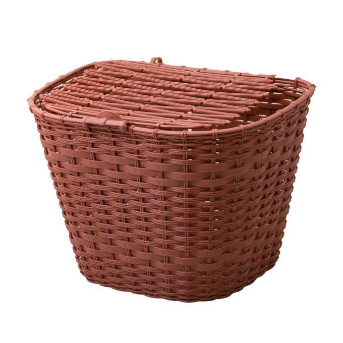 Csepel műanyag első kosár - barna