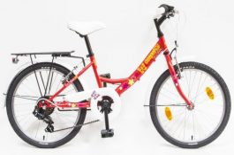 Csepel Flora 20 6sp gyermek kerékpár - piros pillangó (2020)