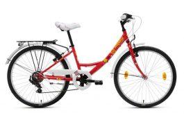Csepel Flora 24 6sp gyermek kerékpár - piros/pillangó